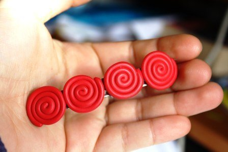 Fermaglio Capelli con Spirali Rosse in Fimo - Hair Brooch with red fimo Swirls