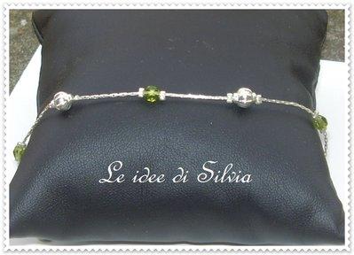Bracciale con cristalli verdi