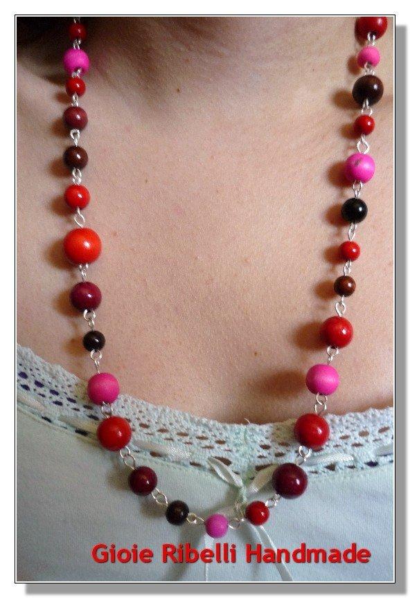 Collana Stile Vintage Rosso e Rosa