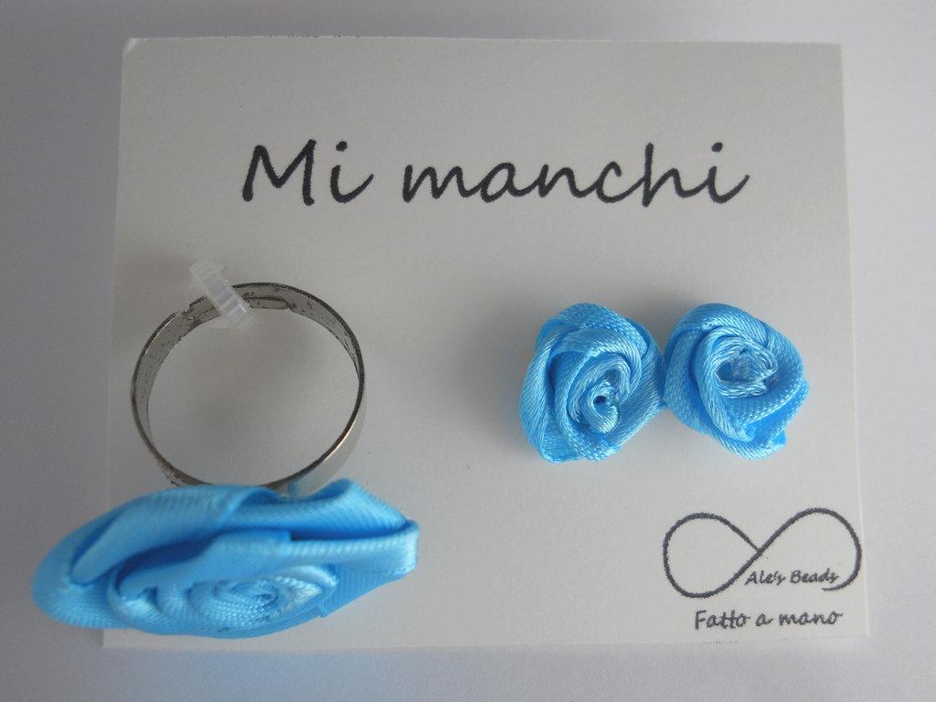 anello e orecchini con rosa in stoffa turchese