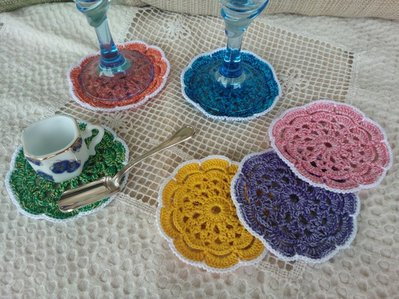 6 sottobicchieri fiorellone ad uncinetto