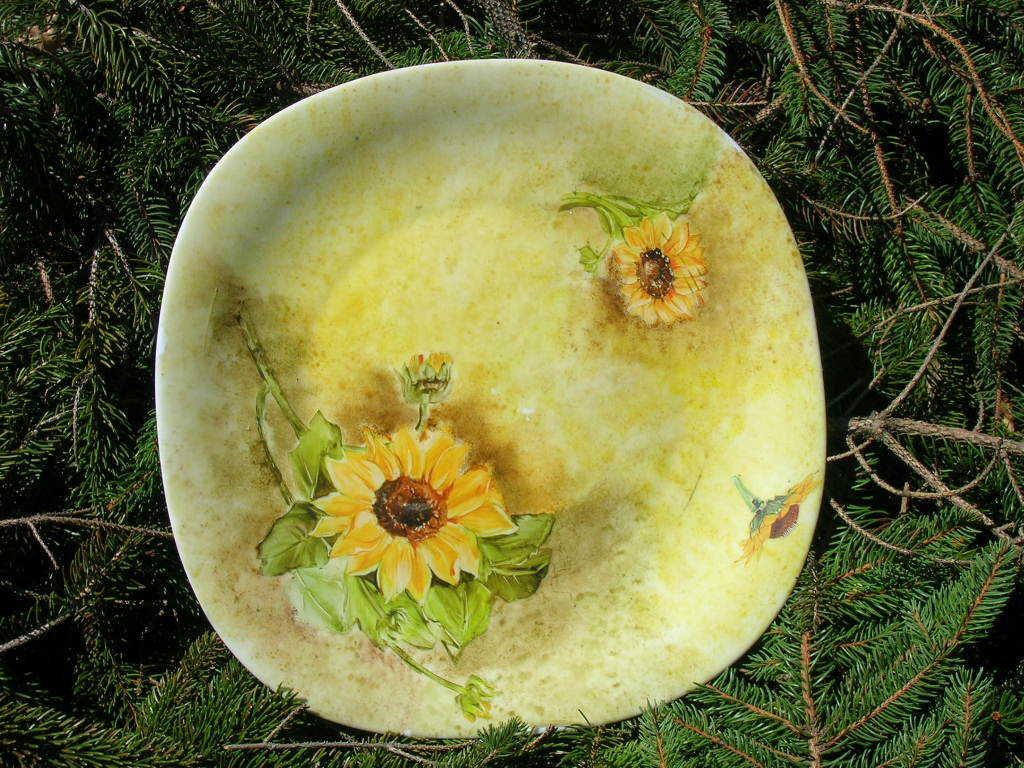Vassoio in ceramica con girasole