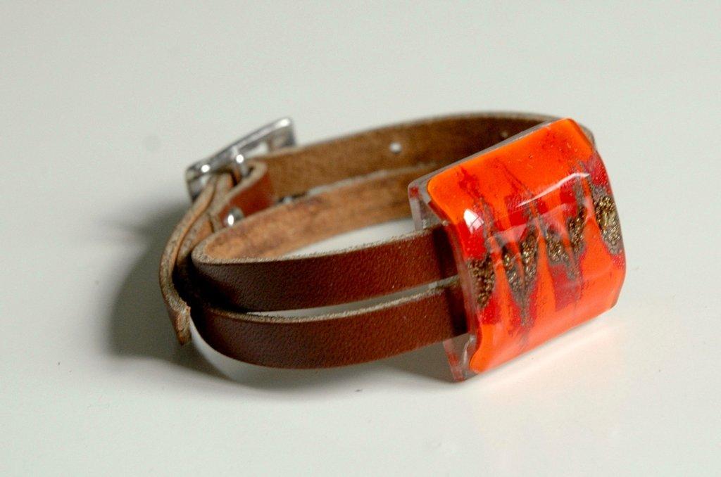 Bracciale - Vetro  - Pelle - Rosso - Arancio - compleanno Anniversario - FUSIONE -Riciclaggio
