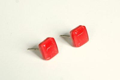 Orecchini    925   Argento    Vetro    Vitrofusion   Rosso    orecchini a lobo  handmade