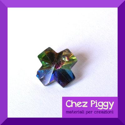 1 x pendente di cristallo - croce colorata