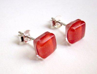 Orecchini    925   Argento    Vetro      Rosso    orecchini a lobo  handmade