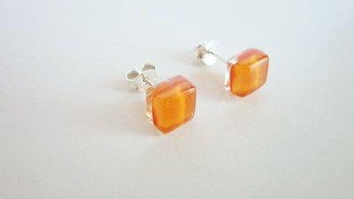 Orecchini     Argento 925   Vetro     Orange   orecchini a lobo    handmade