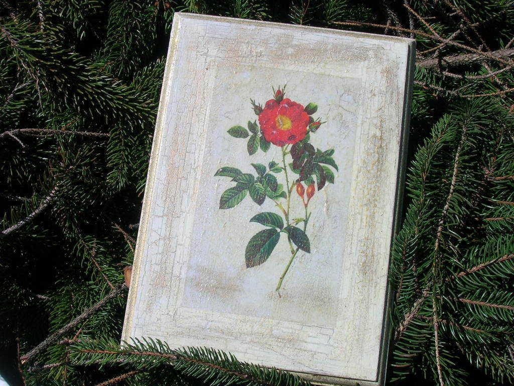 Quadro legno con fiore dècoupage