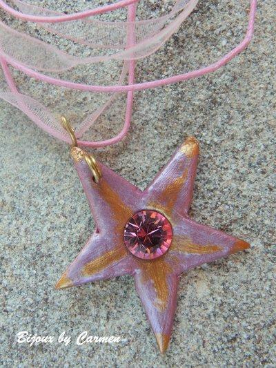 Girocollo rosa con ciondolo stella di mare