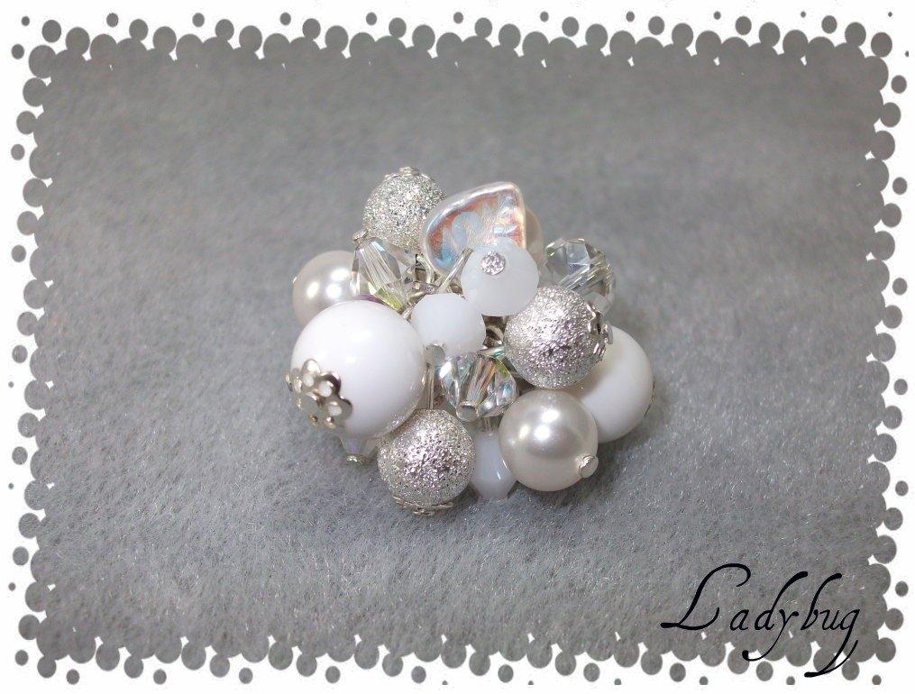 Anellone bianco/argento con swarovsky