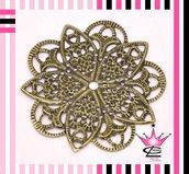 lotto INGROSSO 10 Connettori fiori Filigrana Traforato Color Bronzo 5cm x bijoux