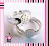 5 pz base per anelli regolabili argento RODIATO ideali per fimo e bigiotteria