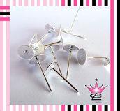 STOCK 100 basi orecchini perno colore argento RODIATO per fimo e bijoux 8x10 mm