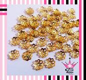 STOCK 200 coppette copriperla copri perla colore oro 6mm x fimo orecchini bijoux