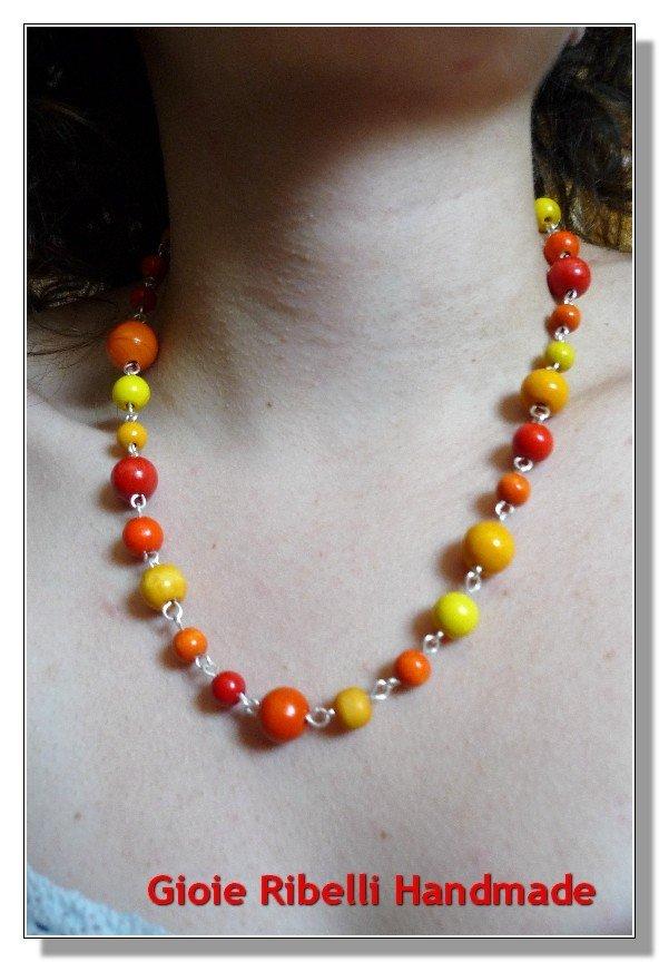 Collana Stile Vintage Arancione Giallo