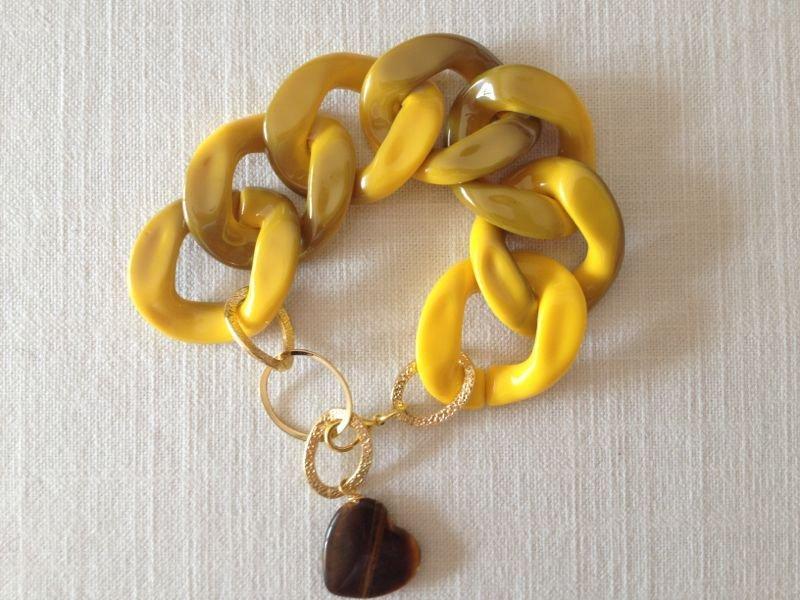bracciale con catena resina e pendente occhio di tigre