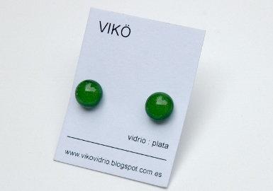 Orecchin  i  925 Argento    Vetro   orecchini di vetro artigianale    verde  orecchini a lobo     handmade