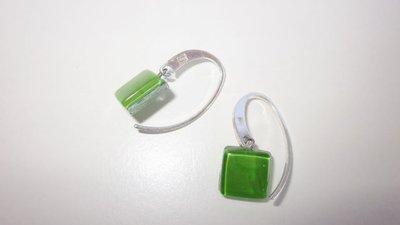 Orecchini  Vetro 925 Argento orecchini di vetro artigianale verde