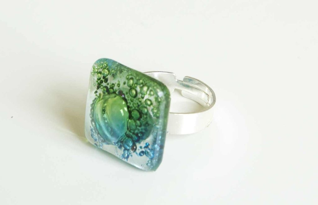 Anello regolabile   Argento 925   vetro   anello regolabile  Handmade