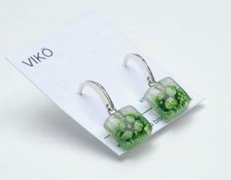 Orecchini   925 Argento   Vetro  orecchini di vetro artigianale verde