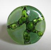 Anello regolabile  Argento 925   vetro  FUSIONE  handmade Verde