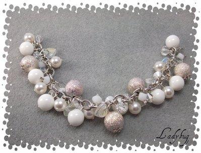 Bracciale bianco / argento perle e swarovsky