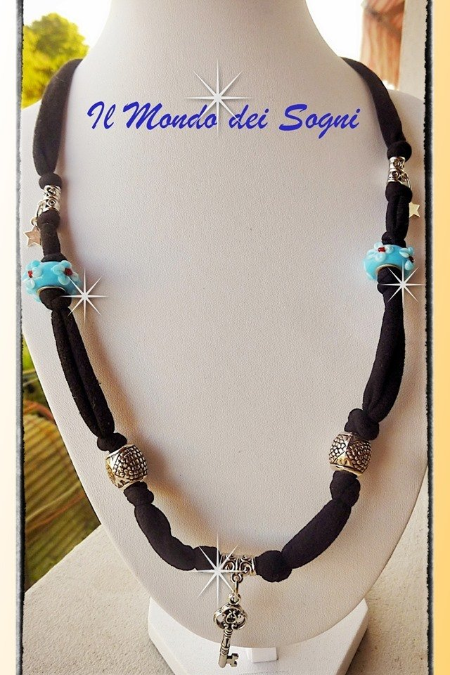 Collana bracciale lycra nero con charms MODA ESTATE 2013+SCATOLINA REGALO!