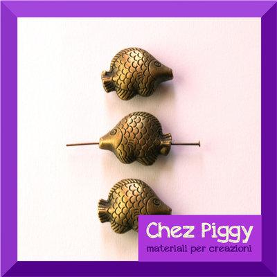 1 x perla a forma di pesciolino - color bronzo