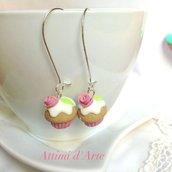 """orecchini cupcakes """"romantic rose"""" handmade"""