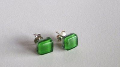 Orecchini    925 argento & vetro  verde