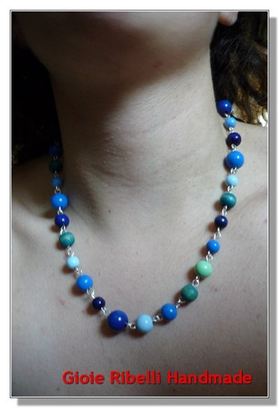 Collana Stile Vintage Blu Azzurra