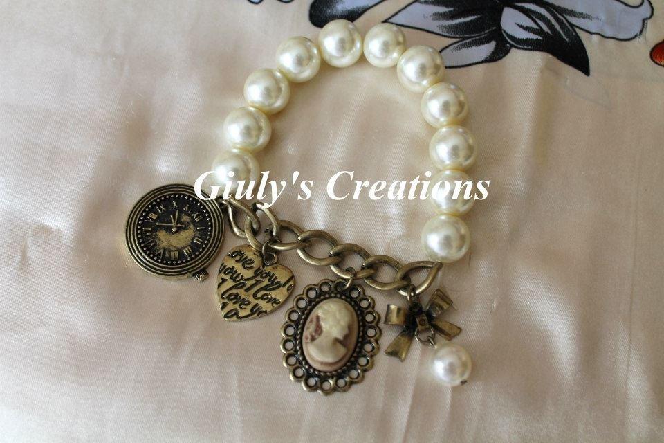 Bracciale Vintage metà perle e metà catena