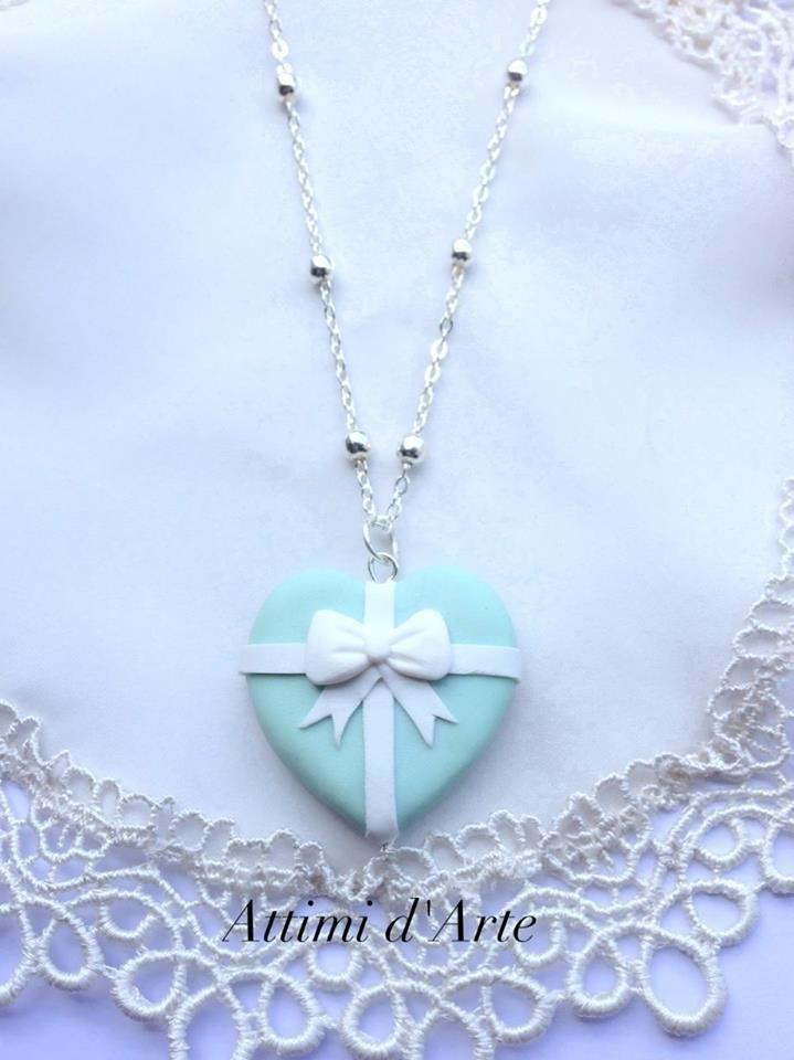 collana a pallini cuore impacchettato di tiffany handmade