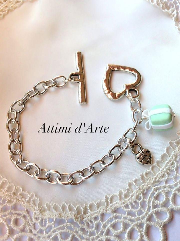 bracciale in alluminio con chiusura a T e pacchettino di tiffany handmade