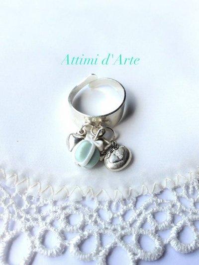 anello  regolabile con mini pacchettino di tiffany