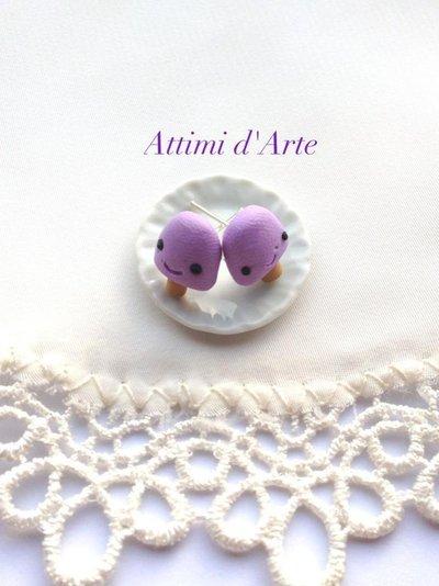 orecchini a lobo ghiacciolino kawaii viola handmade