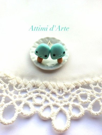 orecchini a lobo ghiacciolino kawaii celeste handmade