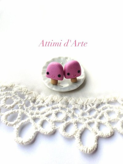 orecchini a lobo ghiacciolino kawaii rosa handmade