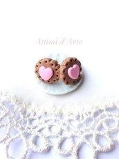 orecchini biscottino cuore rosa handmade