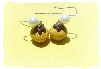 Orecchini muffin con stellina in fimo