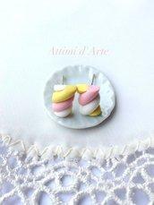orecchini a lobo marshmallow rosa/giallo/bianco handmade