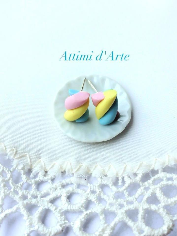 orecchini a lobo marshmallow rosa/giallo/celesti handmade
