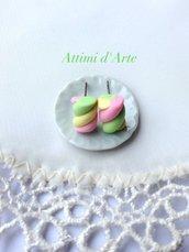 orecchini a lobo marshmallow rosa/giallo/verdi handmade