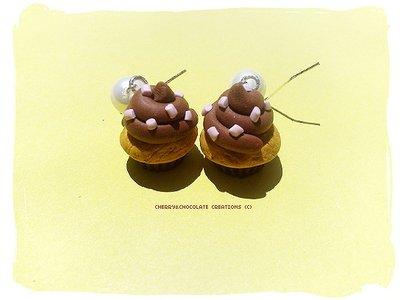 Orecchini tortino cioccolato in fimo