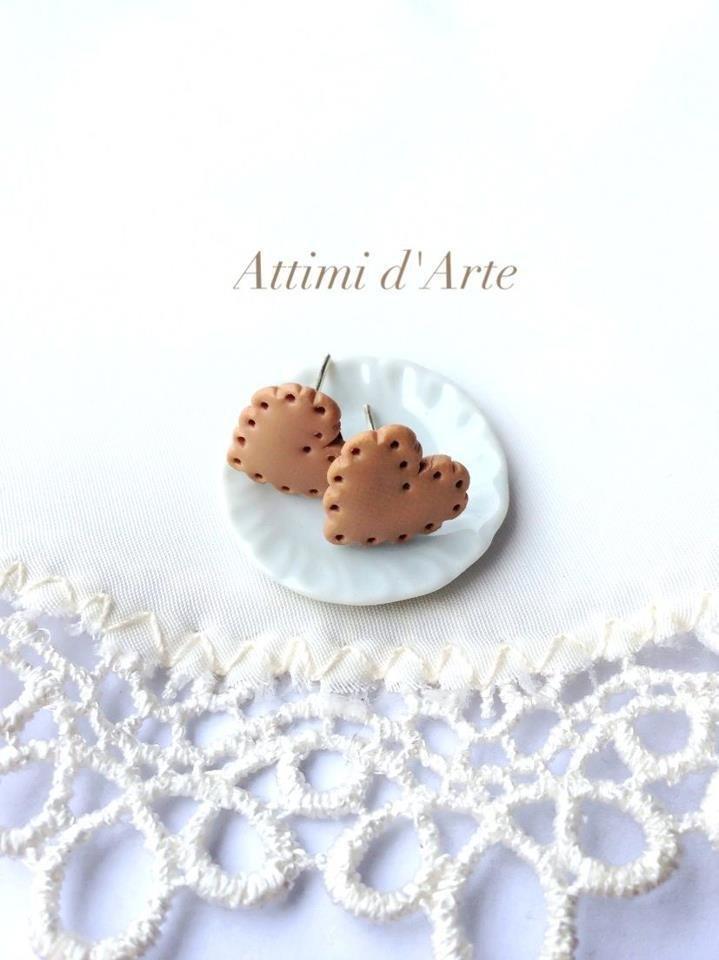 orecchini a lobo biscottini cuore saiwa handmade