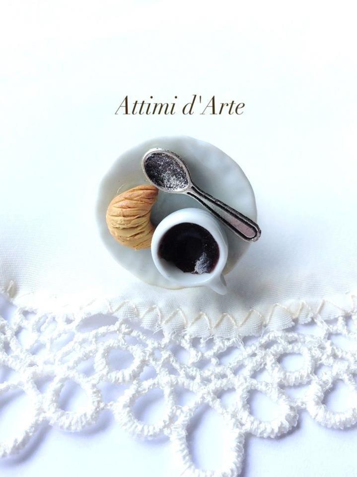 anello regolabile su piattino in ceramica caffè & cornetto più cucchiaino handmade