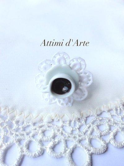 anello regolabile su piattino in ceramica centrino & caffè   handmade