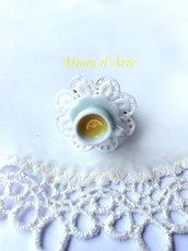 anello regolabile su piattino in ceramica centrino & thè handmade