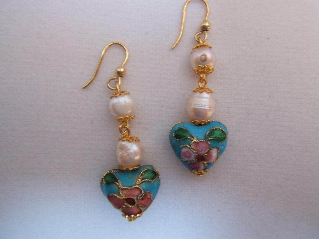 Orecchini victorian style con perle cloisonnè, Victorian style earrings handmade