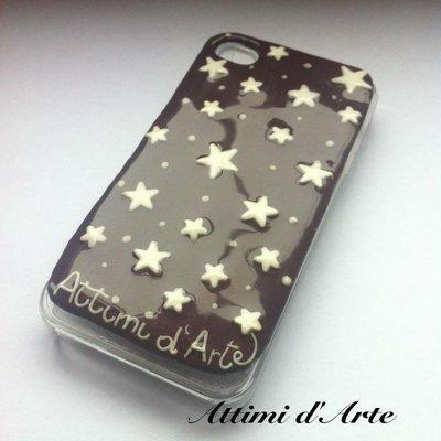 cover iphone 4/4s fantasia pan di stelle (brillano al buio) total handmade